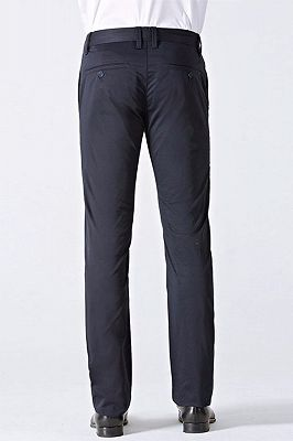Classic Dark Navy Cotton Straight Mens Suit Pants for Business_3