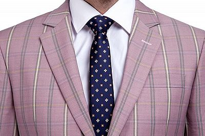 New Coming Plaid Pink Mens Suits with Flap Pocket_4