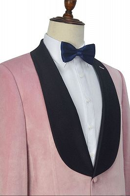 Stylish Pink Velvet Wedding Tuxedos Cheap | Black Silk Shawl Lapel Prom Suits for Men_4