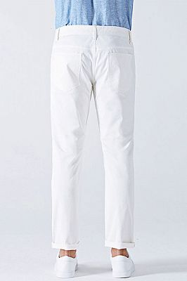 Fashionable White Cotton Solid Casual Mens Ninth Pants_3