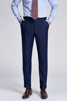 Gentlemanly Light Stripes Blue Pants for Formal Mens Suits_1