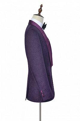 Luxury Dark Purple One Button Wedding Tuxedos   Silk Shawl Lapel Jacquard Prom Suits_5