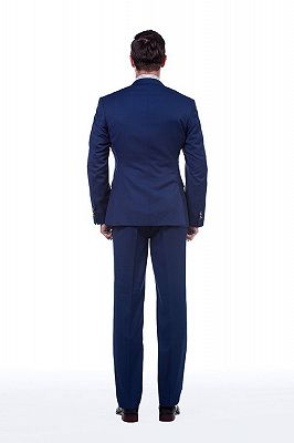Premium Peak Lapel Navy Blue Three Piece Suits for Men with Double Breasted Vest_3