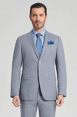 Casual Light Grey Suits for Men | Blue Grid Mens Leisure Suits Sale_2