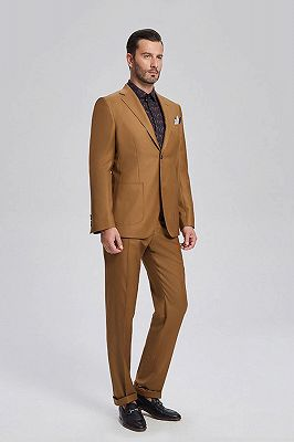 Silas Stylish Patch Pocket Gold Brown Mens Suits for Formal_2