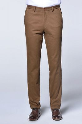 Casual Cotton Pants Solid Brown Slim Fit Daily Trousers_1