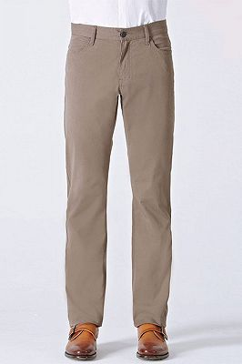 Light Brown Cotton Classic Business Straight Pants for Men_1