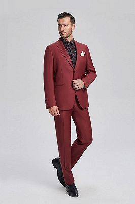 Popular Red Suits for Prom   Peak Lapel Mens Suits for Business_2