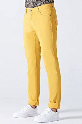 Daily Bright Yellow Small Cuff Anti-wrinkle Casual Mens Pants_2