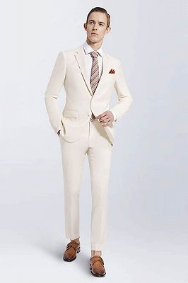 Modern Cream Slim Fit Prom Suits Cheap | Notch Lapel Custom Casual Leisure Suits for Men_1