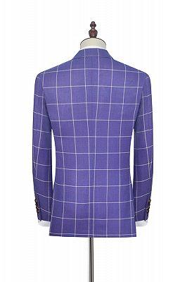 Check Pattern Patch Pocket Purple Mens Suits   Notch Lapel Formal Suits for Men_2