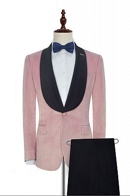 Stylish Pink Velvet Wedding Tuxedos Cheap | Black Silk Shawl Lapel Prom Suits for Men_2
