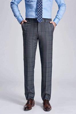 Big Plaid Fashionable Grey Mens Pants for Suit_1