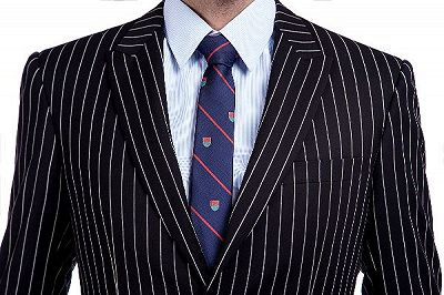 Tristen Modern Stripes Mens Leisure Suits   Black Suits for Prom_4