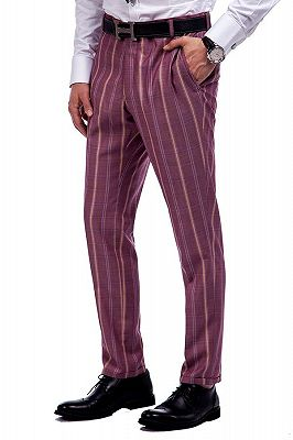 Modern Check Patten Red Purple Mens Suits_8