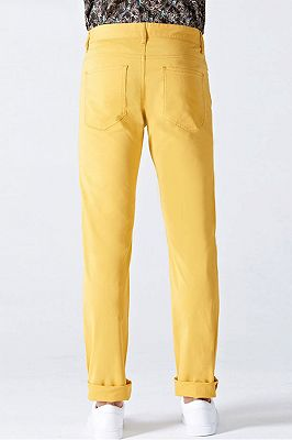 Daily Bright Yellow Small Cuff Anti-wrinkle Casual Mens Pants_3