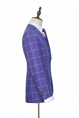 Check Pattern Patch Pocket Purple Mens Suits   Notch Lapel Formal Suits for Men_5