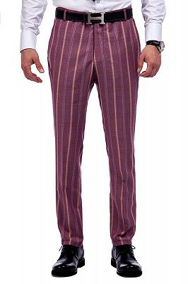 Modern Check Patten Red Purple Mens Suits_7