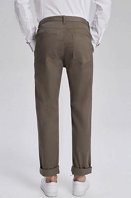 Fashionable Olive Green Cotton Roll-Up Cuff Mens Pants for Casual_3