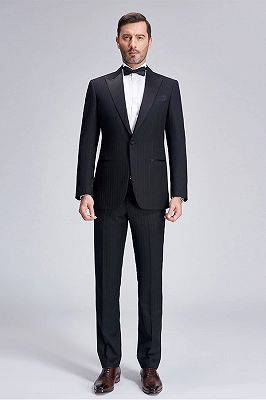 Popular Silk Peak Lapel Black Mens Suits for Wedding | One Button Stripes Cheap Wedding Tuxedo_1