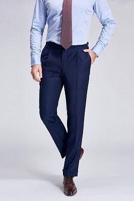 Gentlemanly Light Stripes Blue Pants for Formal Mens Suits_2