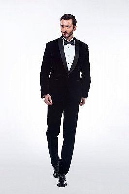 Premium Silk Shawl Lapel Black Velvet Mens Suits Tuxedos for Winter_1
