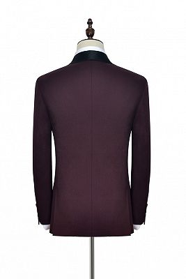 Luxury Black Shawl Collor One Button Wool Burgundy Wedding Suits for Men_5
