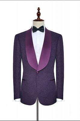 Luxury Dark Purple One Button Wedding Tuxedos   Silk Shawl Lapel Jacquard Prom Suits_3