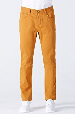 Orange Cotton Made-to-Order Solid Mens Casual Trousers_1