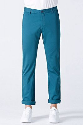 Casual Blue Cotton Solid Daily Mens Ninth Pants_1