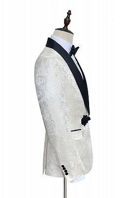 Stylish Knitted Button Black Shawl Lapel Three Piece White Jacquard Wedding Tuxedo for Men_2