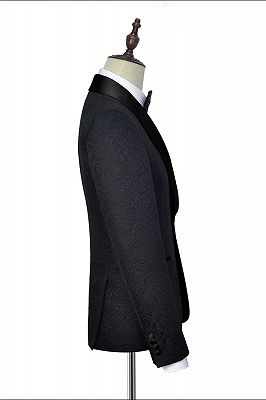 Classic Black Jacquard Wedding Tuxedo for Men | Shawl Lapel Silk One Button Wedding Suits_4