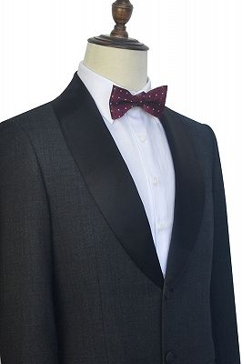 Classic Dark Grey Black Shawl Collar Wedding Tuxedos | Two Buttons Custom Wedding Suits for Men_3