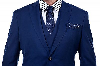 Premium Peak Lapel Navy Blue Three Piece Suits for Men with Double Breasted Vest_4