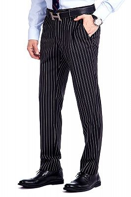 Tristen Modern Stripes Mens Leisure Suits   Black Suits for Prom_9