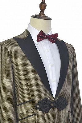 Retro Small Checked Prom Suits Cheap | Knitted Button Black Peak Lapel Wedding Suits for Men_3
