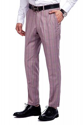 New Coming Plaid Pink Mens Suits with Flap Pocket_9