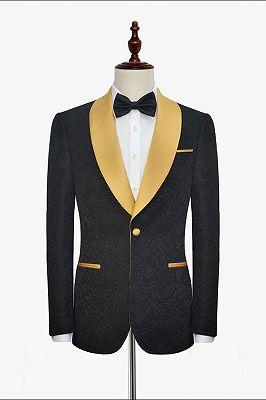 Gold Shawl Lapel One Button Wedding Tuxedo | Black Jacquard Cheap Prom Suits_2