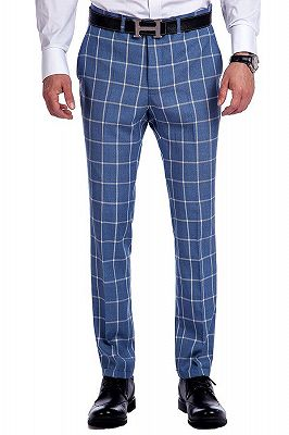 Light-colored Plaid Blue Fashionable Mens Suits for Formal_7