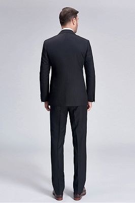 Popular Silk Peak Lapel Black Mens Suits for Wedding | One Button Stripes Cheap Wedding Tuxedo_4