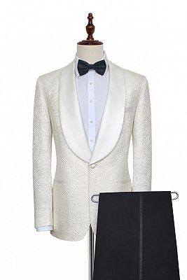 Popular Jacquard White Tuxedos for Wedding | Silk Shawl Lapel One Button Wedding Suit for Men_2