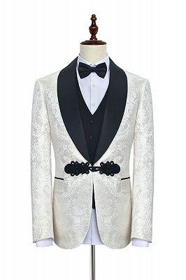 Stylish Knitted Button Black Shawl Lapel Three Piece White Jacquard Wedding Tuxedo for Men_1