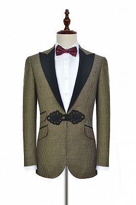 Retro Small Checked Prom Suits Cheap | Knitted Button Black Peak Lapel Wedding Suits for Men_1