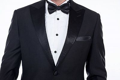 Popular Silk Peak Lapel Two Buttons Solid Black Wedding Suits for Men_5