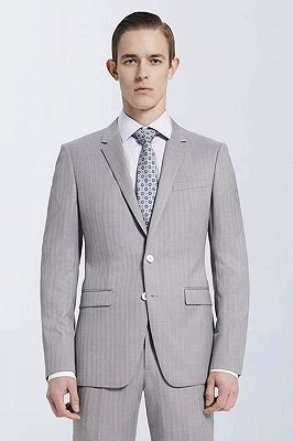 Small Notch Lapel Light-colored Stripes High Quality Light Grey Mens Suits_2