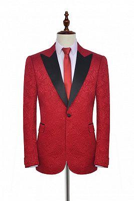 Bright Red Jacquard Peak Lapel with Black Silk Unique Mens Suits_1