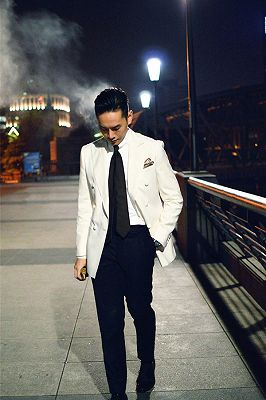Modern Double Breasted Wedding Suits for Groom | Black and White Mens Suits_2
