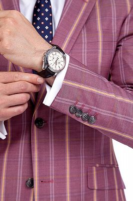 Modern Check Patten Red Purple Mens Suits_6