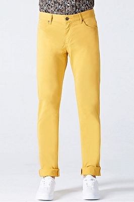 Daily Bright Yellow Small Cuff Anti-wrinkle Casual Mens Pants_1