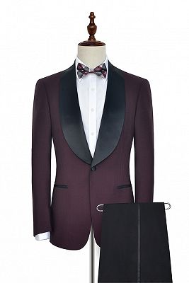 Luxury Black Shawl Collor One Button Wool Burgundy Wedding Suits for Men_2